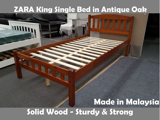 Picture of Zara King Single Bed in Antique Oak
