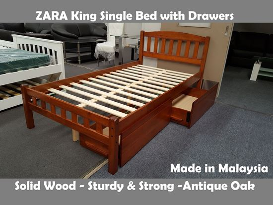 Picture of Zara King Single Bed in Antique Oak with Drawers