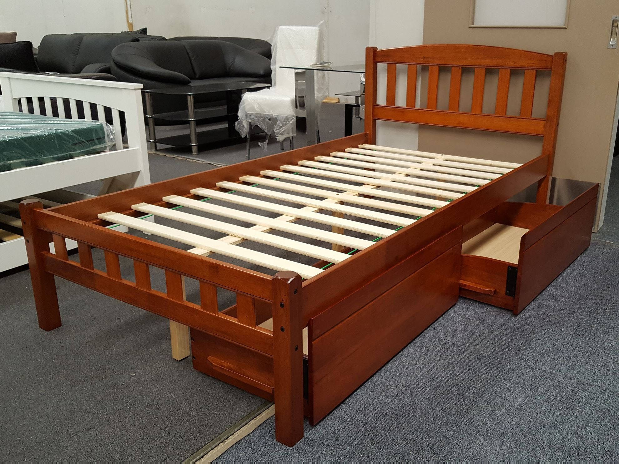 Furniture place zara king single bed in antique oak with for Single bed with drawers and mattress