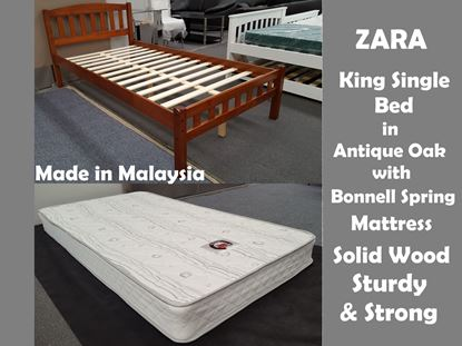 Picture of Zara King Single Bed in Antique Oak with Mattress
