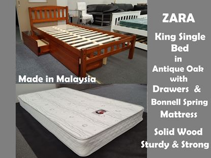 Picture of Zara King Single Bed in Antique Oak with Drawers & Mattress
