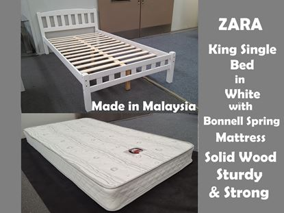 Picture of Zara King Single Bed in White with Mattress