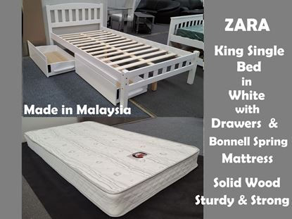Picture of Zara King Single Bed in White with Drawers & Mattress