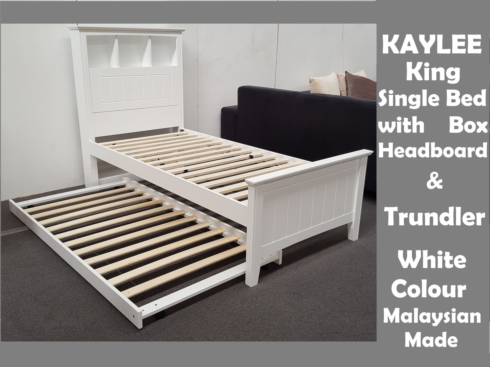 Furniture Place Kaylee King Single Bed With Box Headboard