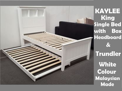 Picture of Kaylee King Single Bed with Box Headboard & Pull Out Trundler Bed on Wheels in White