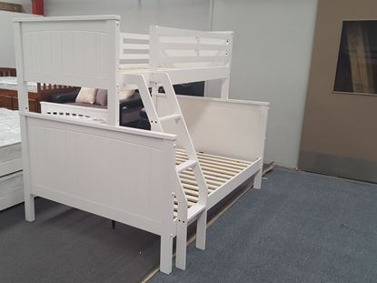 Picture of Emily Double-Single Bunk Bed in White with 2x Mattresses