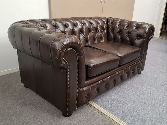Picture of FENNEL 2-SEATER  GENUINE LEATHER 2-TONE BROWN MALAYSIAN MADE