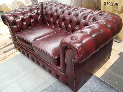 Picture of FENNEL 2-SEATER  GENUINE LEATHER 2-TONE BURGUNDY MALAYSIAN MADE