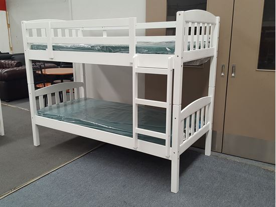 Picture of Bunk Bed with Mattresses Zara Single Solid Wood in White Colour