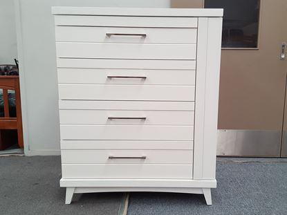 Picture of Tallboy Katy 5 Drawer with Hidden Side Cabinet in White Colour