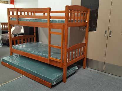 Picture of Bunk Bed with Trundle and Mattresses Zara Single  Oak Colour