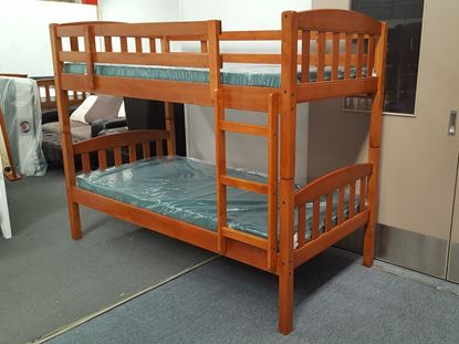 Picture of Bunk Bed with Mattresses Zara Single Solid Wood in Antique Oak Colour