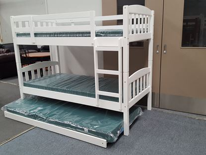 Picture of Bunk Bed with Trundle and Mattresses Zara Single White Colour
