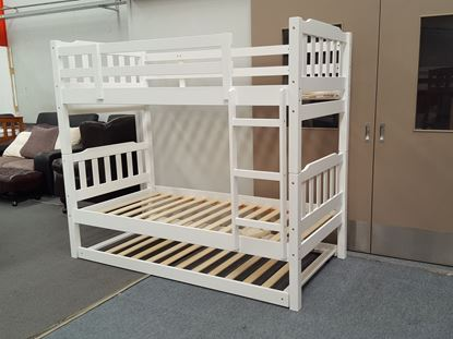Picture of Bella Single Bunk Bed with Trundle White Solid Wood Malaysian