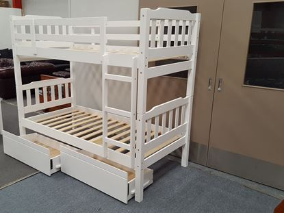 Picture of Bella Single Bunk Bed with Drawers White Solid Wood Malaysian