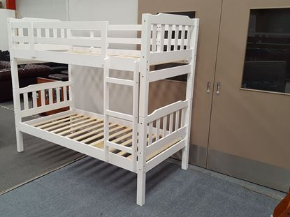 Picture of Bella  Single Bunk Bed White Solid Wood Malaysian Made