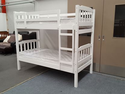 Picture of Bunk Bed with Mattresses Bella Single Solid Wood in White Colour