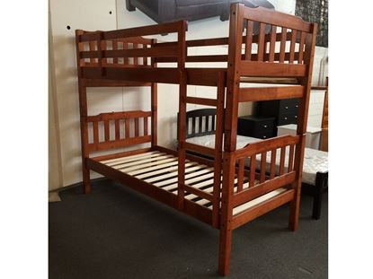Picture of Bella King Single Bunk Bed Antique Oak Solid Wood Malaysian Made