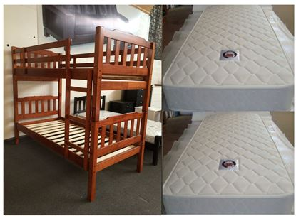 Picture of Bunk Bed with Mattresses Bella king Single in Antique Oak Colour
