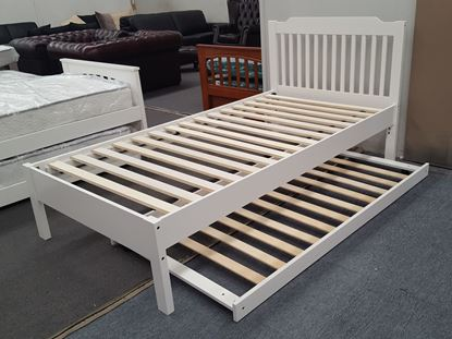 Picture of Chloe King Single Bed Adjustable Base Height with Trundle White Malaysian Made