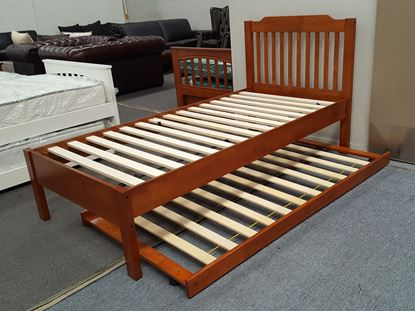 Picture of Chloe King Single Bed Adjustable Base Height with Trundle  Oak Malaysian Made