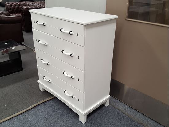 Picture of WEKA 5 Drawer Tallboy Timeless Design White Colour Malaysian Made