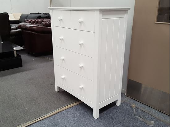 Picture of IVY 5 Drawer Tallboy Line Patterns sides White Colour Malaysian Made