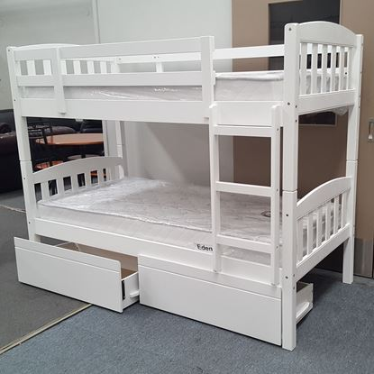 Picture of Miki Bunk Bed with Drawers and Mattresses Single Solid Hardwood White