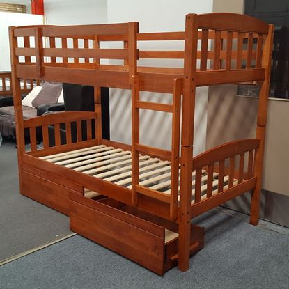 Picture of Miki Bunk Bed with Drawers Single Solid Hardwood Oak Malaysian Made