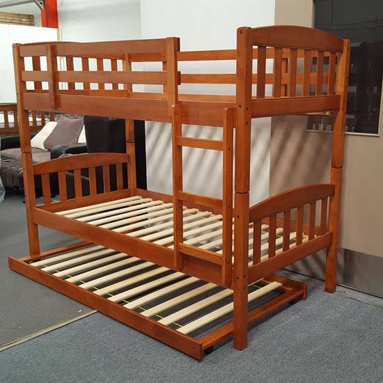 Picture of Miki Bunk Bed with Trundle Single Solid Hardwood Oak Malaysian Made