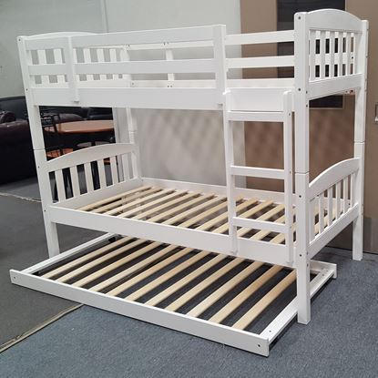 Picture of Miki Bunk Bed with Trundle Single Solid Hardwood White Malaysian Made
