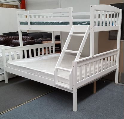 Picture of Miki Double Bunk Bed with Mattresses Solid Hardwood White Colour