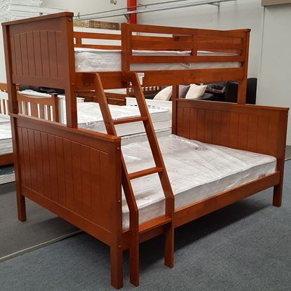 Picture of Emily Double Bunk Bed with Mattresses Solid Hardwood Antique Oak Colour