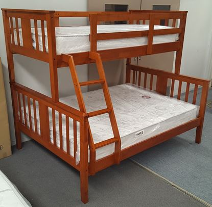 Picture of Holly Double Bunk Bed with Mattresses Solid Hardwood Oak Colour