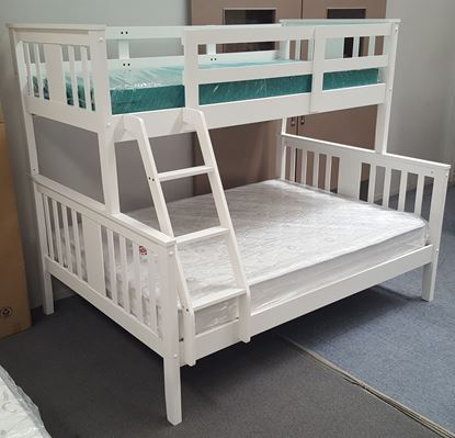 Picture of Holly Double Bunk Bed with Mattresses Solid Hardwood White Colour