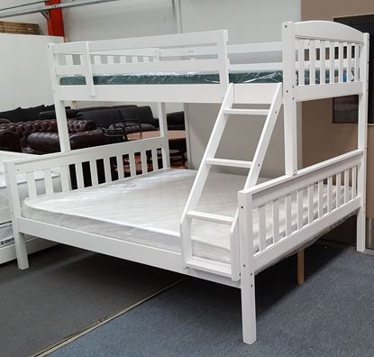 Picture of Miki Queen Bunk Bed with Mattresses Solid Hardwood White Colour
