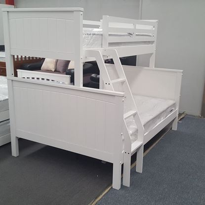 Picture of Emily Queen Bunk Bed with Mattresses Solid Hardwood White Colour