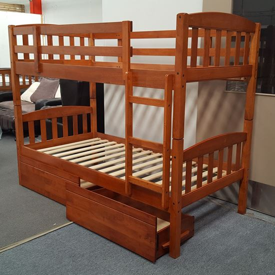 Picture of Miki King Single Bunk Bed with Drawers Solid Hardwood Antique Oak