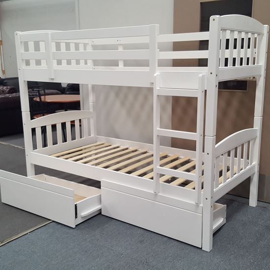 Picture of Miki King Single Bunk Bed with Drawers Solid Hardwood White Malaysian