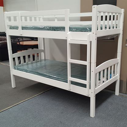 Picture of Miki Bunk Bed with Mattresses Single Solid Hardwood White Colour