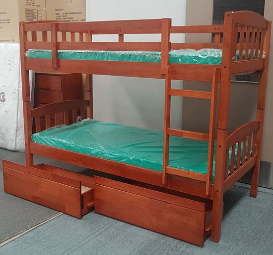 Picture of Miki Bunk Bed with Drawers and Mattresses Single Solid Hardwood Oak