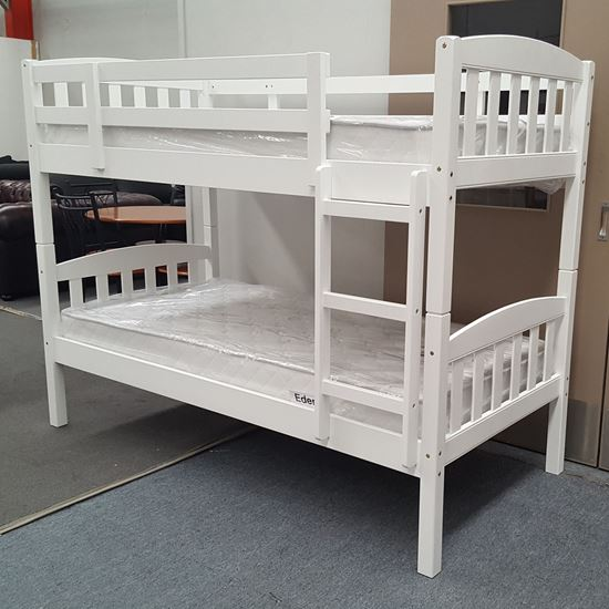 Picture of Miki King Single Bunk Bed with Mattresses Solid Hardwood White