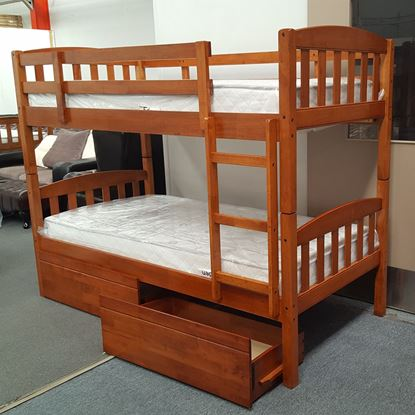 Picture of Miki King Single Bunk Bed with Drawers Mattresses Solid Hardwood Oak