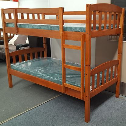 Picture of Miki King Single Bunk Bed with Mattresses Solid Hardwood Antique Oak