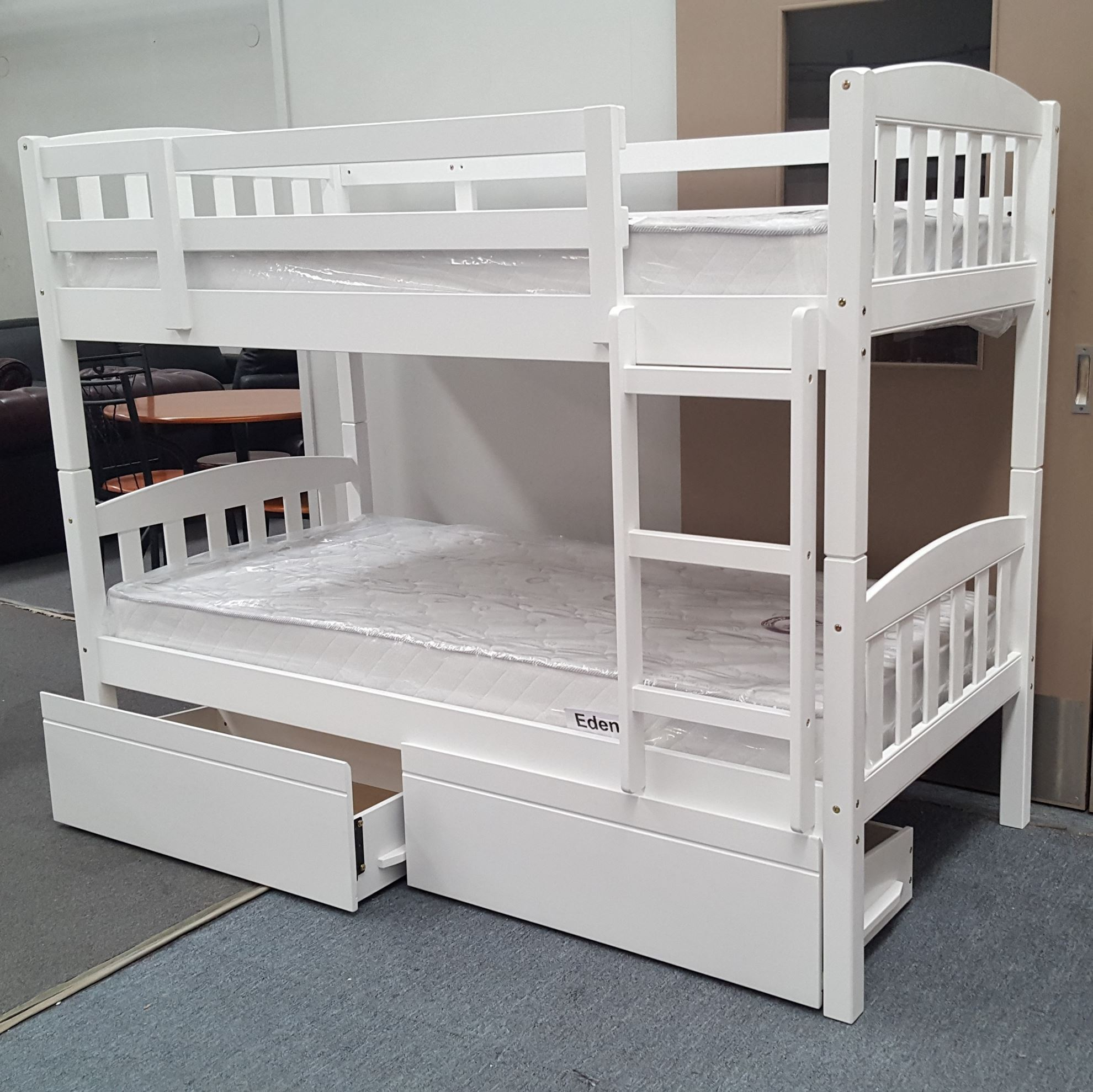 Picture of: Furniture Place Miki King Single Bunk Bed With Drawers And Mattresses Solid Hard Wood In White Colour