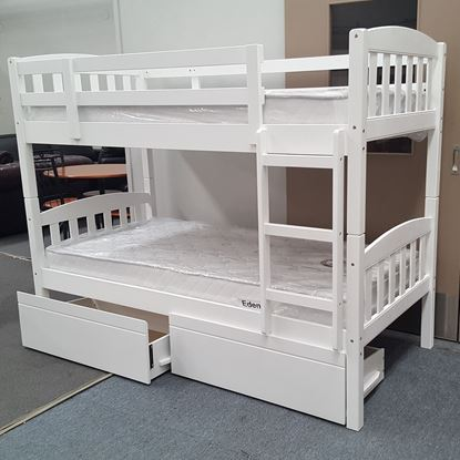 Picture of Miki King Single Bunk Bed with Drawers Mattresses Solid Hardwood White