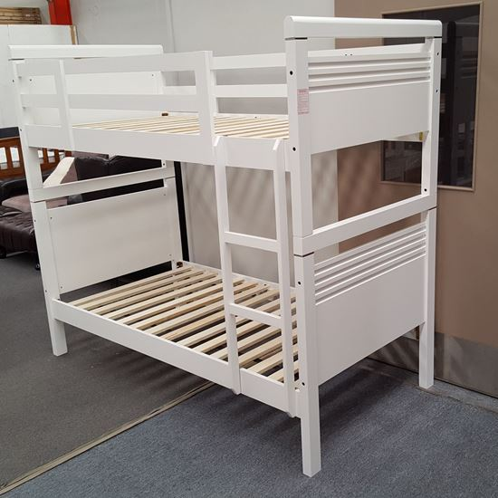 Picture of Elena Bunk Bed Single Solid Hardwood White Malaysian Made