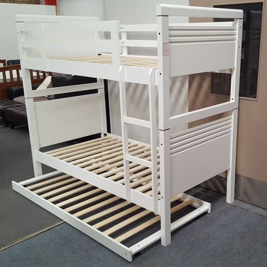 Picture of Elena  Bunk Bed with Trundle Single Solid Hardwood White Malaysian Made