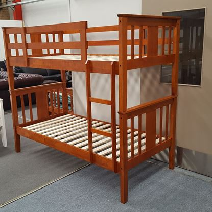 Picture of Holly King Single Bunk Bed Solid Hardwood Antique Oak Malaysian Made