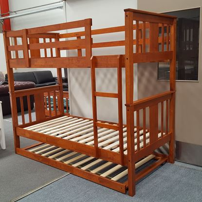 Picture of Holly King Single Bunk Bed with Trundle Solid Hardwood Antique Oak